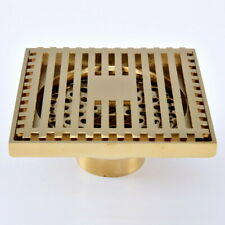 Luxury Gold Brass Bathroom Floor Waste Square Shape Shower Drain Grate Lhr070