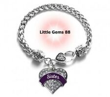 SILVER PLUM SISTER PAVE HEART CHARM BRACELET 7.5 INCHES CLEAR ZIRCONIA STONES
