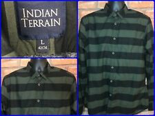 Indian Terrain Olive Green Black Color Block Striped L/S Btn Down Shirt Lg SLIM