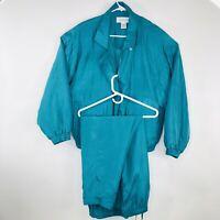 Vintage 80s 90s Lavon Womens Large Turquoise Silk Track Suit Windbreaker Pants