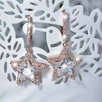 18k rose gold gf made with SWAROVSKI crystal bling star stud dangle earrings