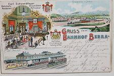 17734 Litho AK Gruß vom Bahnhof Bebra mit Bahnhofs Restaurant von innen 1905