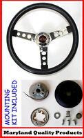 "60-69 Chevrolet C10 Chevy Pick Up Truck Black Steering Wheel BLK/RD Cap 14 1/2"""