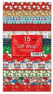 NEW15 SHEETS CHRISTMAS GIFT WRAP WRAPPING PAPER ASSORTED DESIGNS FLAT WRAP......