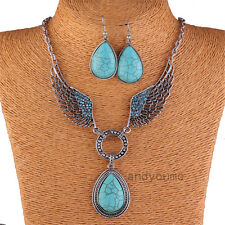 Hot Turquoise Drop Pendant Crystal Angel Wing Tibet Silver Necklace Earring Set