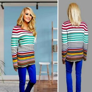NEXT TOP SIZE 18 STRETCH MULTICOLOURED STRIPED KNIT LONG SLEEVE #33