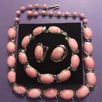 Vintage Coro Parure - Bracelet Necklace Earrings Pink Thermoset Lucite