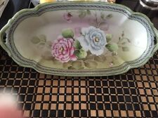 """Hand Painted Nippon Coronation Ware Floral Oblong Bowl 12"""" Very Pretty"""