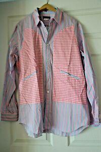 Comme des Garcons Homme Plus Pink Stripe Shirt Vintage Cotton Deep Slit Pockets