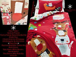 🎅 Next Santa Rudolph Reindeer Slade Polar Bear Tree Winter Bed Set White Green