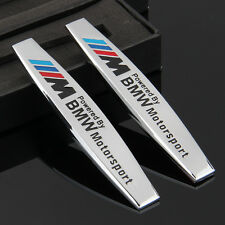 2pcs Car Metal chrome Fender Badge Emblem Decal Sticker For M power Motorsport