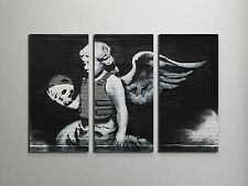 "Banksy Body Armor Angel With Skull Stretched Canvas Triptych Print 48""x30"" BONUS"