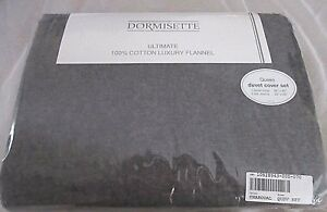 Gray QUEEN DUVET Cover Set Flannel THE BEST: Dormisette 100% Thick German Cotton