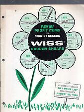 1966 WISS GARDEN SHEARS DEALER NET PRICE LIST FOR SELLER-NEWARK, N.J.-12 PAGES