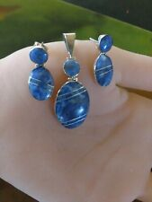 Taxco Small Light  Blue sodalite 925 sterling silver sets earring and pendant