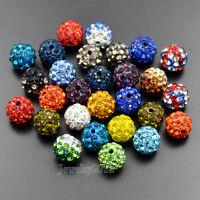 10mm Czech Crystal Rhinestones Pave Clay Round Disco Ball Beads 10Pcs 20Pcs 100p