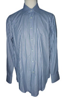"Herbie Frogg Mens Long sleeve Shirt Silver Grey Purple Stripe Uk L 16"" Collar"