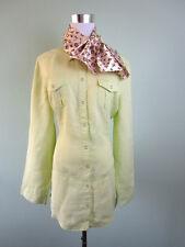 STREET ONE Womens Linen Yellow Casual Rolled Up Sleeve Shirt Jacket sz 16 XL G65