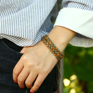 Fashion Bohemian Colorful Wax Rope Braided Wristband Men's Retro Ethnic Bangles