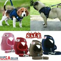 New Small Dog Cat Pet Mesh harness Vest Collar Chest Strap Leash Breathable