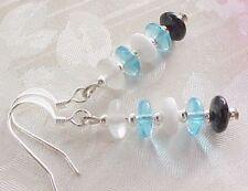 Turquoise Blue White Minimalist Modern Stack Modern Czech Bead Earrings Tween