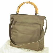 Auth GUCCI Vintage Logos Bamboo Nylon Canvas Tote Hand Bag Italy F/S 18453bkac