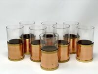 Vintage Bar Ware Drinking Glasses Tumblers W/ Removable Copper Sleeves Set Of 8