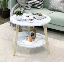 Round Coffee Table Two Level Nightstand Wooden Legs End Table (White Stone)