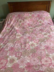 Vintage Marks & Spencer Bedspread 1970s Pink Floral Double Fringe Retro VW Camp