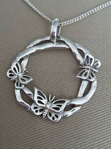 Beautiful Large Sterling Silver Butterfly Wreath Pendant Necklace 925