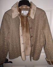 RENA ROWAN  Faux Fur Woman's Coat Shearling Jacket Beige Size 12 NEW