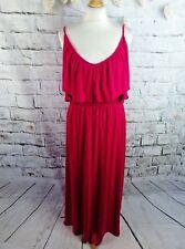"H&M jersey maxi dress M medium bust 36"" 10 12 vibrant pink strappy long soft"