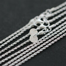 """1-5Pcs Wholesale 2MM Solid Silver Plated Twisted Rope 925 Chain Necklace 16""""-30"""""""