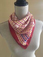Vintage Anne Klein 21 x 21 Navy, Red, and Yellow Blocks Silk Scarf