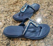 NEW CROCS Dual Comfort Sanrah Flip Flops Blue Silver Womens Sandals Shoes 10