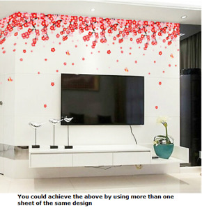 Peach Flower & Butterfly Wall Decals Stickers Mural Vinyl Paper Home Art Decor
