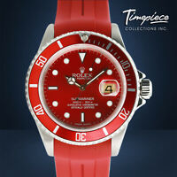 Rolex Watch Mens 40mm Stainless Steel Submariner 16610 Red Dial & Insert