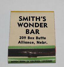 SMITH'S WONDER BAR Aliance, Nebraska Vintage Cartoon Hillbilly Matchbook