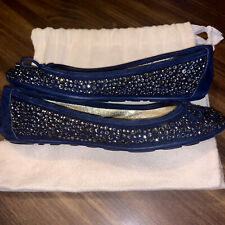 Authentic Gorgeous Jimmy Choo Embellished Navy Flats 36 IT (US6)