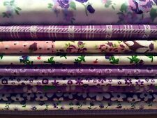10 Fat Quarters Bundle PURPLE Polycotton Fabric Offcuts Scraps Remnants
