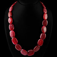 RARE 505.00 CTS EARTH MINED RICH RED RUBY GEMSTONE OVAL CARVED BEADS NECKLACE