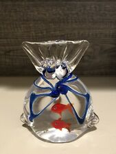 Stunning Murano Style 2 Goldfish Wrapped In Gift Bag Paperweight