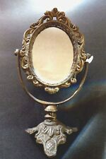 Solid Brass Oval Mirror - Vanity Table Top - With Stand - Antique