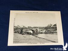 WWI Litho PC Bridge Over River Marne Under Repair 1918