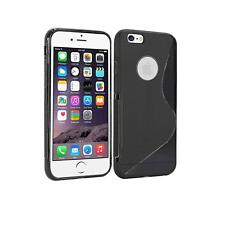 """iPhone 6 6S Line Wave TPU Silicone Soft Gel Back Case Cover 4.7"""" - Black"""
