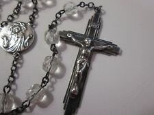 Vtg Sterling Silver Crucifix Rosary Faceted Crystal Glass Beads -Darkened Finish