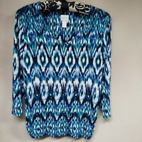 Chico's Women's Top Shirt Long Sleeve Blouse Scoop Neck Ikat Blue Green Size 1
