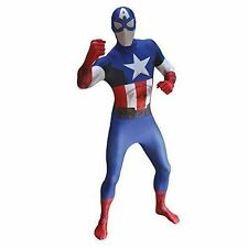 Marvel Superhero Captain America Morphsuit Fancy Dress 2nd Skin Bodysuit Costume Medium