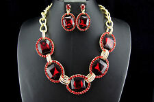 Red Wedding Bridal Prom Rhinestone Crystal Necklace Earrings Fashion Jewelry Set