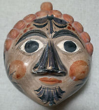 LARGE  Vintage Hand Painted Mexican Tonala Pottery Face Head Coin Bank
